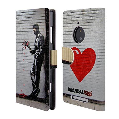 Offizielle Brandalised The Hustler Banksy Kunst Street Tag Brieftasche Handyhülle aus Leder für Nokia Lumia 830 (Hustler Leder)
