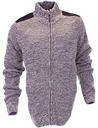 Urban Revival Mens Knitted Casual Cardigan Jacket Zip Through Front In Brown and Grey