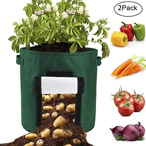 louisayork potato grow bag, 2pezzi per coltivazione bag 10gallon, vasi in tessuto traspirante, riutilizzabile, feltro per coltivare ortaggi patata carota cipolla pomodoro, feltro, green, 34x34cm