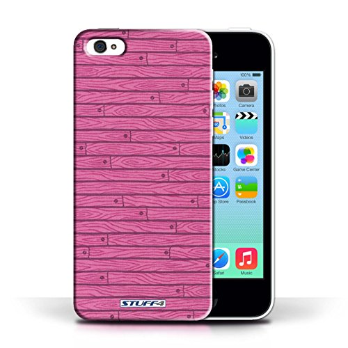 KOBALT® Hülle Case für Apple iPhone 5C | Türkis Entwurf | Holz-Muster Kollektion Rosa