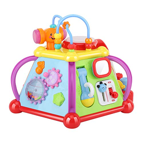 Zooawa Musical Activity Cube Play Center, Multiple Functions Baby Toy Center [15 in 1] Educational Activity Pyramid with Music Sound for Learning & Sense Development for Toddlers And Kids, Colorful