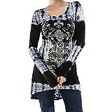 TWIFER Damen Langarm Bluse O Neck Shirt Digital bedrucktes Hemd Pullover Sweater (XL, Grau)