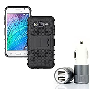 Aart Hard Dual Tough Military Grade Defender Series Bumper back case with Flip Kick Stand for Samsung ON5 + Car Charger With 2 Fast Charging USB Ports by Aart Store.