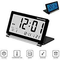 Pawaca Travel Alarm Clock, Electronic Alarm Clock with Calendar & Temperature, LCD Digital Clock with Blue Backlight - Battery Included