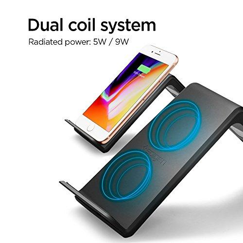 Caricabatterie-Wireless-Rapida-Spigen-Essential-Certificazione-Qi-9W-Tecnologia-Intelligent-Power-Verticale-e-Orizzontale-Fast-Veloce-Caricatore-Wireless-iPhone-X88-PlusQi-Abilita-F303W