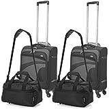 Aerolite taille 55x40x20 Ryanair Maximum Trolley porte valise à 4 roues (2 x noir/gris + 2 x seconde sac noir)