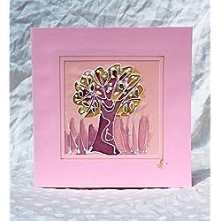 Verkauf!!!20% reduziert,Baum des Lebens/der Hand, die Silk Karte/eleganter Baum der Leben-Jahrestagskarte/Baum-Liebhaber-Karte/Geburtstags-Karten- / Ehemann-Geschenk-Karte des klassischen Vaters malt