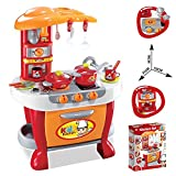 #7: Techhark Little Chef Kids Kitchen Play Set with Light & Sound Cooking Kitchen Set Play Toy (Red-Orange)