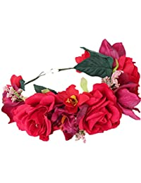 YAZILIND flor guirnalda grande rosa guirnalda floral diadema nupcial para bodas festivales Turismo