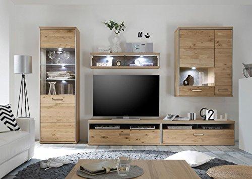 Wohnwand, Wohnzimmerschrank, Anbauwand, Schrankwand, Fernsehwand,  Wohnzimmerschrankwand, Wohnschrank, Eiche, Massiv, Vitrine, Glas