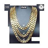 Collar de Cadena de Oro de 24K 9,2Mm Diamond Corte Suave Brillo Cubano Link más Alta Que Fashion Chapado en Oro Hombres Joyería