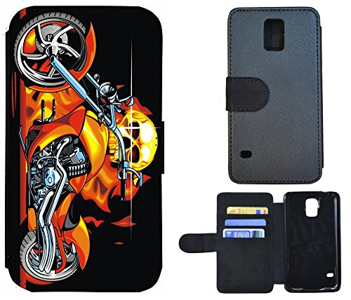 Coque Flip Cover Housse Etui Case Pour, Tissu, 1010 Wolf, Apple iPhone 4 / 4s 1018 Totenkopf Skull Motorrad Feuer