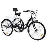MuGuang tricicli Adulti 26' 7 velocità Bicicletta 3 Ruote Adulti con Cestino di acquisto(Nero)
