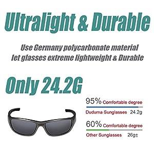 Duduma Gafas de Sol Deportivas Polarizadas Para Hombre Perfectas Para Esquiar Golf Correr Ciclismo TR8116 Súper Liviana Para Hombre y Para Mujer (marco gris plata con lente negro)
