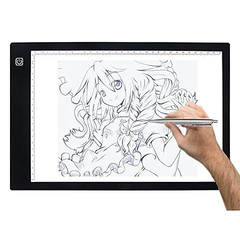 HanSemay LED tablette lumineuse dessin Light Pad Ultra Minces Artisanat Conçu Pour la Production de Dessin Animé Sketch Copy Professional Outils A4 Taille