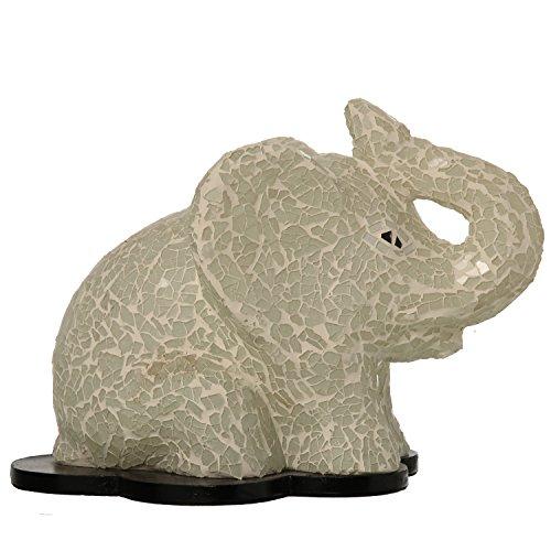 DRW DonRegaloWeb - Lámpara Elefante de sobremesa de Resina y Cristal Mosaico