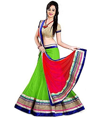 JULEE Net Fabric Lehenga Choli For Women (Green)