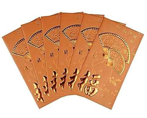 Art de beauté de haute qualité nouvel an chinois Art Papier Monnaie Enveloppes Bénédiction rouge argent paquet Lot de 38pcs, bronze, 19 CMx9 CM