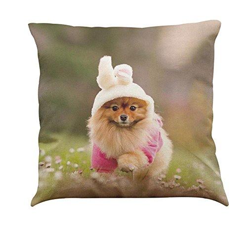janly® Pet bedruckt Kissenbezug Fällen 45,7x 45,7cm Süßer Hund Tier Baumwolle/Leinen Überwurf Kissen Case Square, Baumwoll-Leinen, N, 18