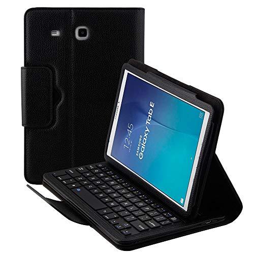 Hülle für Samsung Galaxy Tab E SM-T560 9.6 Tablet Slim Leder Magnetisch Abnehmbare Wireless Bluetooth Tastatur Smart Cover Schutzhülle Ständer Folio mehrere Winkel schwarz ()