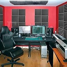 Generic Acoustic Sound Stop Soundproof Absorption Pyramid Studio Foam Black 30x30x5cm Acoustical Treatments Professional Tools