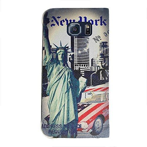 Voyage Usa 2, Portafoglio Mesh Flip Custodia Protectiva in PU Pelle Wallet Case Cover Shell Nero con Design Colorato per Samsung Galaxy S6 Edge G9200.