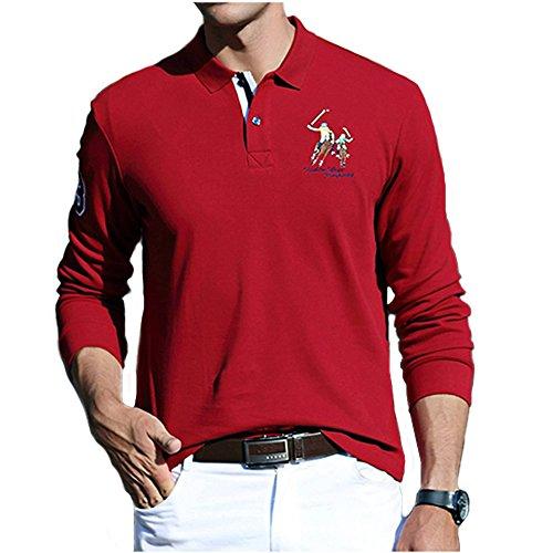 BicRad Herren Polo Shirts Slim Baumwolle Langarmshirts Business Freizeit Dunkelrot