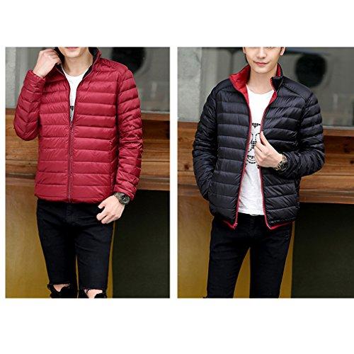 Laixing Manteaux Mens Winter Short Down Jacket Warm Outwear Jacket Double-sided Wear Ultra Lightweight Dark red & Black