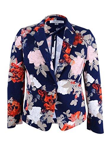 Tahari Womens Navy Floral Blazer Wear to Work Jacket Size: 10