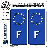blasonimmat 2 Autocollants Plaque immatriculation Auto F France - Identifiant Européen...