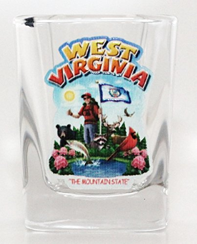 West Virginia State Montage Square Shot Glass by World By Shotglass