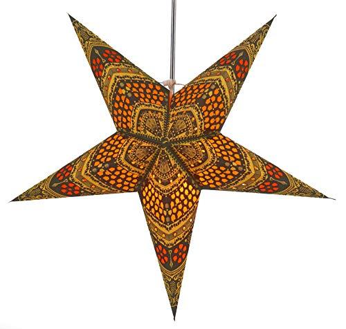 Guru-Shop Faltbarer Advents Leucht Papierstern, Weihnachtsstern Horus - Gelb/orange, 60x60x20 cm, Star Fensterdeko, 5 Spitzen