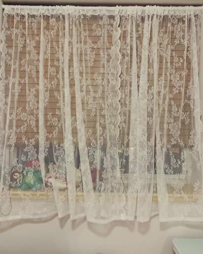 CCSUN Romantisch Bestickt Schiere Vorhang, Floral Tüll Gaze Vorhänge Rod Tasche Land Stil Spitze Voile Fenster Drapieren Net Netz Flächenvorhänge Für Wohnzimmer, 1 Tafel-weiß W280xh220cm(110x87inch) -