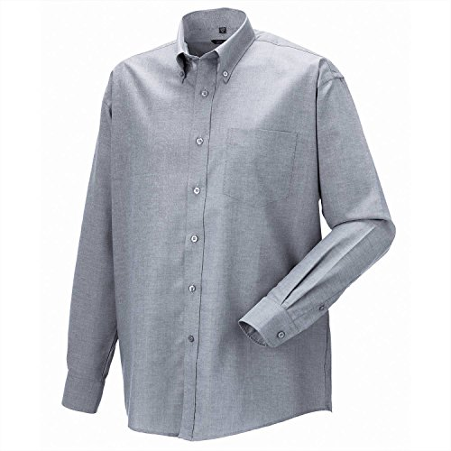 Preisvergleich Produktbild Russell Collection Langarm Oxford Shirt - Silver - 20