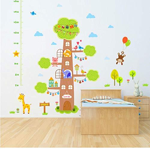 Tier Baum Sweet Home Höhe Maßnahme Wandaufkleber für Kinderzimmer Affe Giraffe Bär Kind Wachstum Wandkarte ()