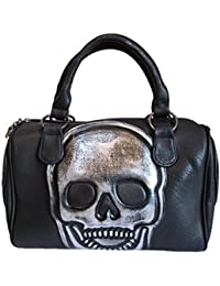 bcf05d97236fb Jn Gianni Handtasche mit Totenkopf Schultertasche Damen Tasche Bowling Bag  Schwarz Skull