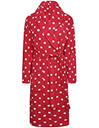 Ladies Spot Fleece Wrapover Dressing Gown. Charcoal or Red. Sizes 8-10 to 22a83471d