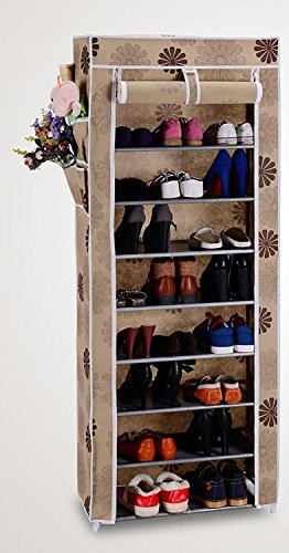 Evana Nine Layer Flower Print Shoe Rack/Shoe Shelf/Shoe Cabinet, Easy Installation Stand for Shoes-Multicolor
