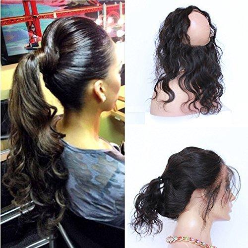 Pre pincée 360 Dentelle frontale 7 A brésiliens vierges Cheveux ondulés Naturel Hairline 360 Bande de dentelle frontale Fermeture avec des cheveux de bébé