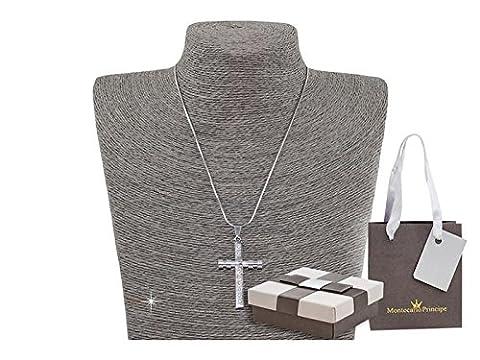 Cross rhinestones Necklace with Montecarlo Prince 14476 AZ144 Silver in Gift Box
