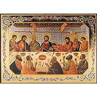 L' ultima cena da parete, da appendere in legno 10cm x 14cm lamina d' oro inciso