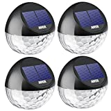 [Upgrade Version]AMIR Solar Lights, Decorative Lights, Rechargeable Fence Lights, Auto On/ Off Garden Lights, Solar Powered Wireless Light, Waterproof Solar Security Lights for Decoration, for Garden, Patio, Fence, Yard, Stairway, Gate, Wall (4 Pack, Black)