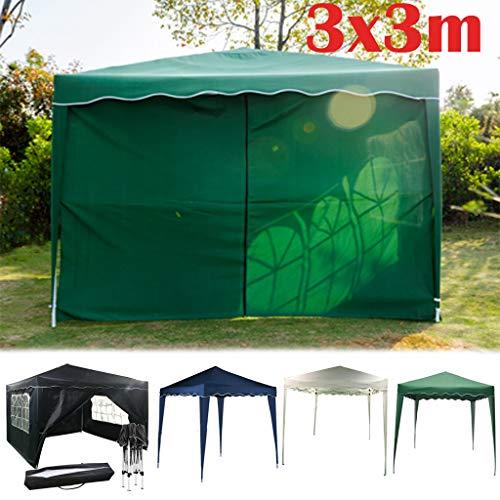 Yiyai Pop-up Pavillon 3x3m Festzelt   mit 4 abnehmbaren Seitenteilen Gartenzelt Schwerlast   wasserdicht und UV-Schutz 50 +   Ideal für Balkon, Garten, Terasse, Camping   Grün