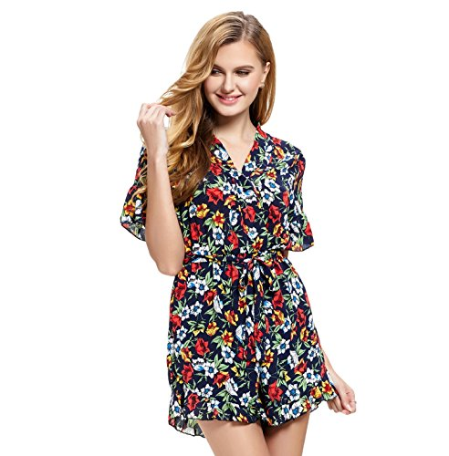 Abollria Playsuits for Women,Elegant Chiffon Floral Print V-Neck Tie Waist Boho Casual Short Romper Jumpsuit