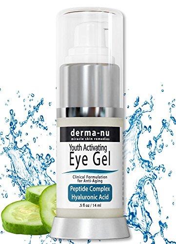 Augen Faltencreme von Derma-nu - Antialterung Eye Gel Behandlung für dunkle Augenringe, Schwellungen und Fältchen - Peptid Kollagen Gebäude Formel - Hyaluronsäure & Aminosäure - .5oz (Wichtige Gebäude)