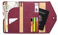 Zoppen Mulit-purpose Rfid Blocking Travel Passport Wallet (Ver.4) Tri-fold Document Organizer Holder (#8 Wine Red / Burgundy)
