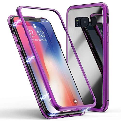 Cover Samsung Galaxy S9, Forte Tecnologia di Adsorbimento Magnetico, Jonwelsy Ultra Sottile Custodia Posteriore in Vetro Temperato con Bumper in Metallo per Samsung Galaxy S9 (Viola)