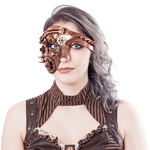 Geekinvader Venezianische Steampunk Burning Man Maske mit Zahnrädern Katzenmaske mit Binokular Halbes Gesicht mit Zahnrädern über 14 Modelle (87367-9006-0000)