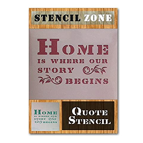 Home is where our Story begins Vintage Shabby Chic weiß Malerei Wand Schablone A5 Size Stencil - XSmall