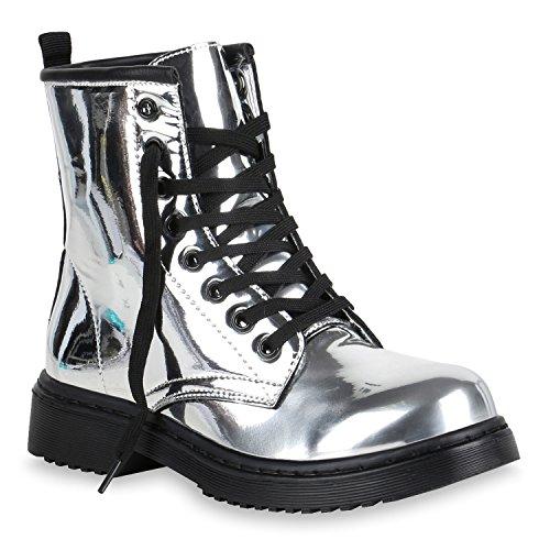 Damen Schuhe Worker Boots Metallic Stiefeletten Lack Outdoor 151143 Silber Lack 40 Flandell